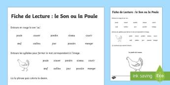 Fiche de lecture : le Son ou la Poule  - poule, sons, OU, phonologie, lecture, cycle 2, compréhension, lire, KS1, reading, sounds,French
