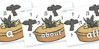 100 High Frequency Words on Blackbirds in a Pie - High frequency words, hfw, DfES Letters and Sounds, Letters and Sounds, display words