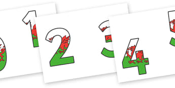 0-9 Welsh Flag Display Numbers - 0-9, display numbers, maths, number, numbers, display, Wales, Welsh flag, Welsh, KS2 on flags
