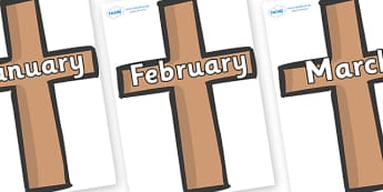 Months of the Year on Crosses - Months of the Year, Months poster, Months display, display, poster, frieze, Months, month, January, February, March, April, May, June, July, August, September