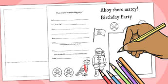 Design Your Own Pirate Themed Birthday Party Invitations - party