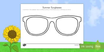 Summer Sunglasses Activity Sheet - End of school year, end of year, end of school, graduation, summer, end of year art, sunglasses