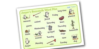 Word Mat to Support Teaching on Jasper's Beanstalk - Jasper, Jasper's Beanstalk, bean, sprayed, watered, word mat, writing aid, mat, slugs, rake, found, beanstalk, planted, cat, dig, plant, waiting, story book, story, story resources