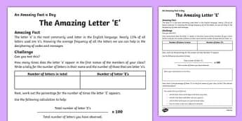 The Amazing Letter 'E' Activity Sheet, worksheet