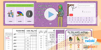 PlanIt Y1 Term 2A W4: Vowel Digraphs 'ir' and 'ur' Spelling Pack - Spellings Year 1, spellings, powerpoint, practice, handwriting, activity, game, hangman, y1, ks1, wo