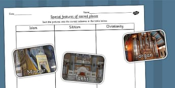 Special Features of Places of Worship Sorting Activity - religion