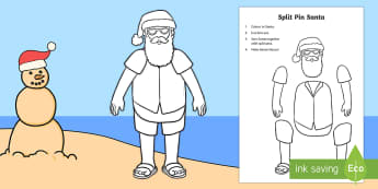 New Zealand Christmas Santa Split Pin Activity
