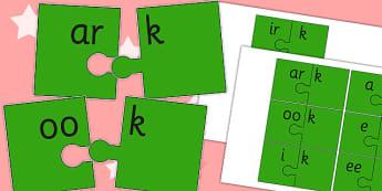 Vowel and Final 'K' Jigsaw Cut Outs - vowel, final k, jigsaw