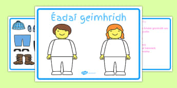Winter Clothes Dress-Up Language Game Gaeilge -Irish , Gaeilge , Listening, dress up , winter, clothes, game, Geimhreadh