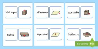 Preposizioni di Luogo Abbina le Carte Attività - preposizioni, di, luogo, grammatica, grammaticale, italiano, italian, materiale, scolastico