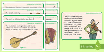 Traditional Irish Instruments Display Facts Posters - ROI - St. Patrick's Day Resources, seachtain na Gaeilge, Irish traditional music, Ireland, trad mus