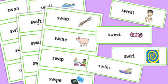 SW Word Cards - sw sound, word cards, word, cards, sound, syllables
