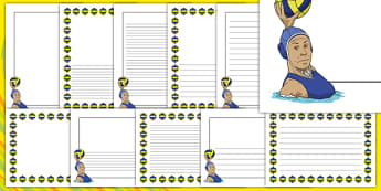 The Olympics Water Polo Page Borders - Water Polo, Olympics, Olympic Games, sports, Olympic, London, 2012, page border, border, writing template, writing aid, writing, activity, Olympic torch, events, flag, countries, medal, Olympic Rings, mascots, f