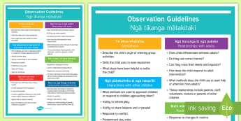 ECE observation guidelines Information poster - English / Te Reo Maori - New Zealand Planning and Assessment, Observations, mātakitaki, report writing, assessment, evaluati