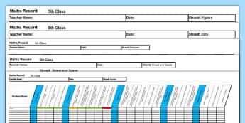 5th Class Maths Record Spreadsheet - irish, maths, assessment, testing, 5th class