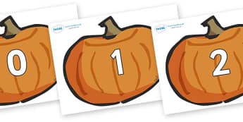 Numbers 0-100 on Pumpkins - 0-100, foundation stage numeracy, Number recognition, Number flashcards, counting, number frieze, Display numbers, number posters