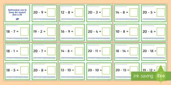 Sottrazioni con la linea dei numeri fino a 20 Attività - addizione, sottrazione, linea, dei, numeri, fino, a , 20, calcoli, elementari, materiale, scolastico