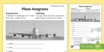 Plane Anagrams Activity Sheet - Amazing Fact Of The Day, activity sheets, powerpoint, starter, morning activity, March, anagrams, re