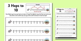 3 Hops to 10 Activity Sheet - number line, activity, 3 hops, 10, worksheet