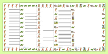 The Tortoise and The Hare Page Borders - writing template, border
