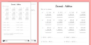 Decimals Addition Activity Sheet - maths, decimals, money, addition, mathematics, New Zealand