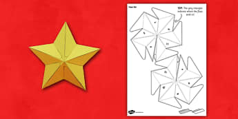 3D Star Paper Model - 3d, paper, star, craft, activity, paper model