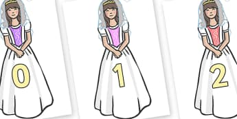 Numbers 0-100 on Princesses - 0-100, foundation stage numeracy, Number recognition, Number flashcards, counting, number frieze, Display numbers, number posters
