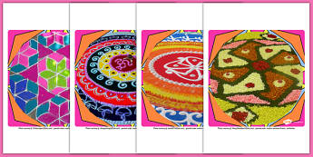 Rangoli Pattern Display Photo Cut Outs - Rangoli, Display, Photo