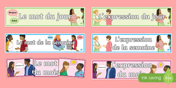 Word of the Day Week Month French Display Banner-French