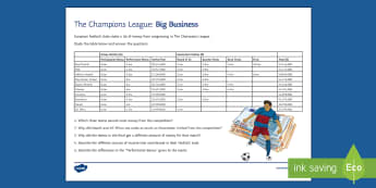 Champions League Big Business Activity Sheet - football, business, money, champions league, worksheet
