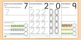 0-9 Number Formation Worksheets - number formation worksheets, writing numbers, learning to write numbers, number tracing sheets, number writing practise
