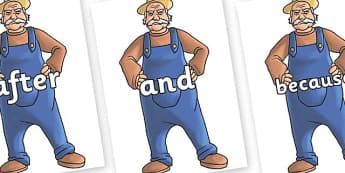 Connectives on Angry Farmer - Connectives, VCOP, connective resources, connectives display words, connective displays