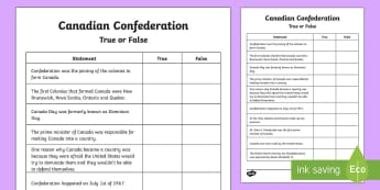 Canadian Confederation True or False Activity Sheet - Canada's 150th Birthday, Canada, confederation, true or false, John A MacDonald, 1867, Dominion Day