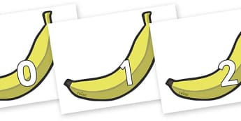 Numbers 0-100 on Bananas - 0-100, foundation stage numeracy, Number recognition, Number flashcards, counting, number frieze, Display numbers, number posters