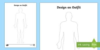Design an Outfit Activity Sheet - outfit, costume, design, clothing, clothes, art,