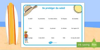 Set de mots : Se protéger du soleil - été, soleil, protection solaire, plage, santé, coup de soleil, se protéger du soleil, saisons, v