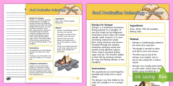 Food Production Damper Activity Sheet - Australia YR 3 and 4 Design Technology, food production, damper, worksheet, food technology, outback
