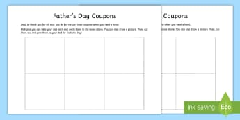 Father's Day Editable Coupon Activity - NI Father's Day 2017 help chore Dad Daddy