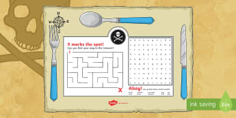 Pirate Themed Birthday Party Activity Place Mat - birthday, party