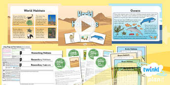 PlanIt - Science Year 2 - Living Things and Their Habitats Lesson 4: World Habitats - science, ks1, key stage 1, planning, resources, topic, nature, animals, places, homes, display, activities, international, climates, extreme, sea, desert,