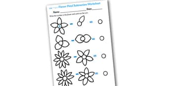 Numbers on Flowers Subtraction Worksheet - flower subtraction, flower subtraction worksheet, flower petal subtraction worksheet, flower numeracy, flowers