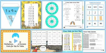 9 Times Table - 9x, nine times, table, multiplication