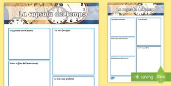 La capsula del tempo Esercizio di Scrittura - tempo, la, capsula, del, tempo, esercizio, scrivere, scrittura, italiano, italian, materiale, scolas
