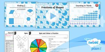 PlanIt Y2 Fractions Lesson Pack - Fractions 1/2, 1/4, 2/4, colour fractions of shapes, reason, explain, fluency,shape, half, quarter,