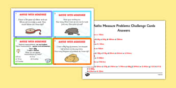 Maths Measure Problems Challenge Cards - maths, measure, numeracy