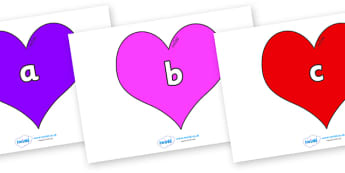 Phase 2 Phonemes on Hearts (Multicolour) - Phonemes, phoneme, Phase 2, Phase two, Foundation, Literacy, Letters and Sounds, DfES, display