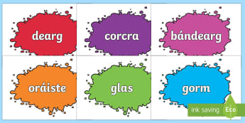 Colour Names on Splats Gaeilge - gaeilge, colour names, colour, names, splats