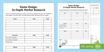 CfE Game Design In-Depth Market Research Activity Sheet - Game DesignTechnologies Second LevelGame Design CfEInformation Handling,Scottish, worksheet