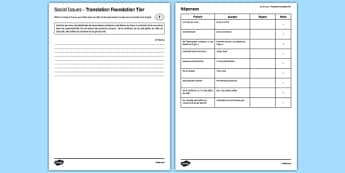 Social Issues Translation Foundation Tier Activity Sheet - French, worksheet
