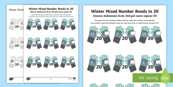 * NEW * Winter-Themed Mixed Number Bonds to 20 Activity Sheet English/Polish - Winter 2016/17, maths, early years, numeracy, year 1, one, ks1, number, bonds, 20, twenty, gloves, m